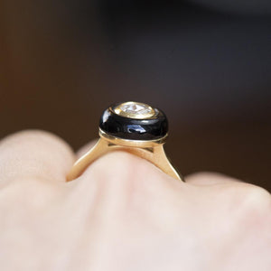 Rosecut Moissanite With Black Onyx Halo Ring In 18k Yellow Gold