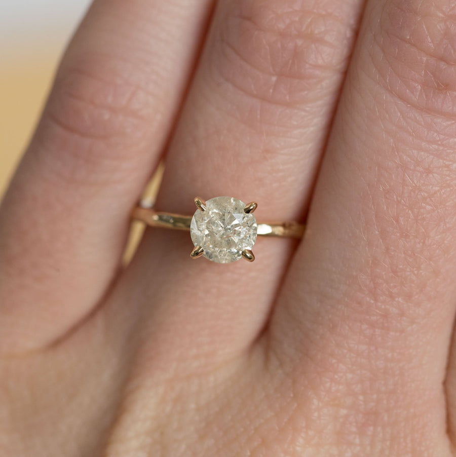 evergreen champagne gray golden diamond solitaire rose recycled gold handmade carved engagement ring