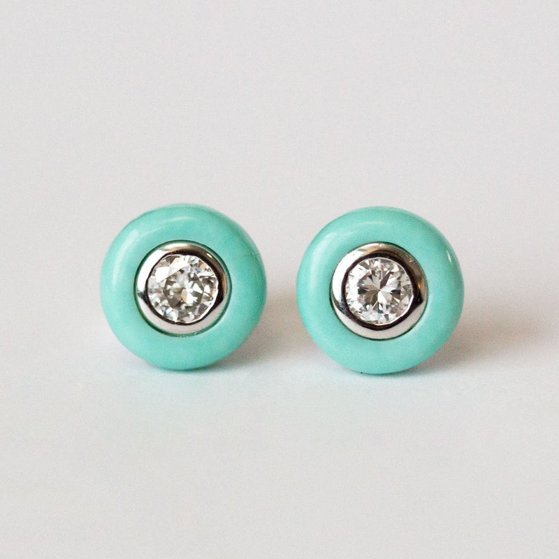 Turquoise and Diamond Stud Earrings - Reclaimed Vintage Diamonds in Turquoise halos by Anueva Jewelry