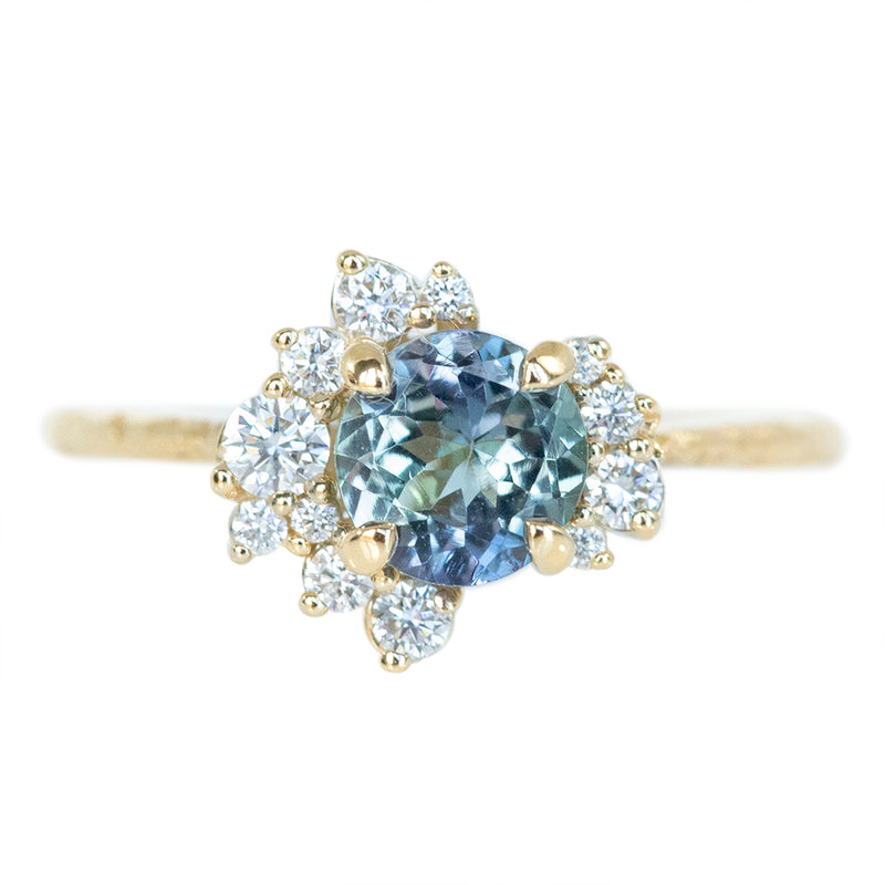 0.88ct Round Tanzanite Asymmetrical Diamond Cluster Ring In 14k Yellow Gold Evergreen Finish
