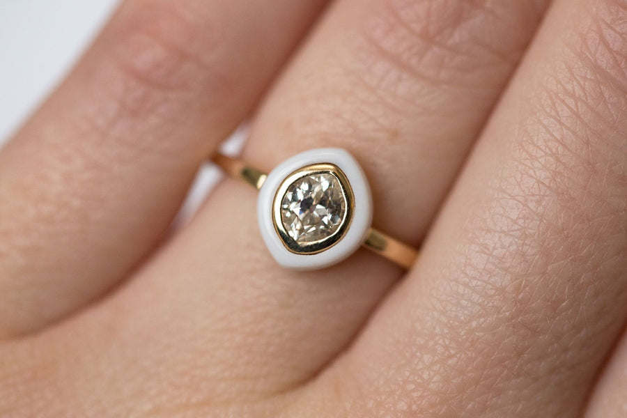 White Onyx and Antique Marquise Diamond Ring - Onyx Target Ring - White Engagement Ring - Yellow Gold - by Anueva Jewelry