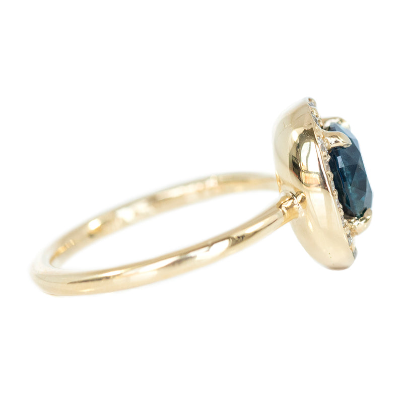1.99ct Round Montana Sapphire in Low Profile Oval-Esque Tapered Diamond Halo, 14k Yellow Gold