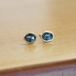 Blue Oval Rosecut Sapphire Stud Earrings In Yellow Gold Bezel Set