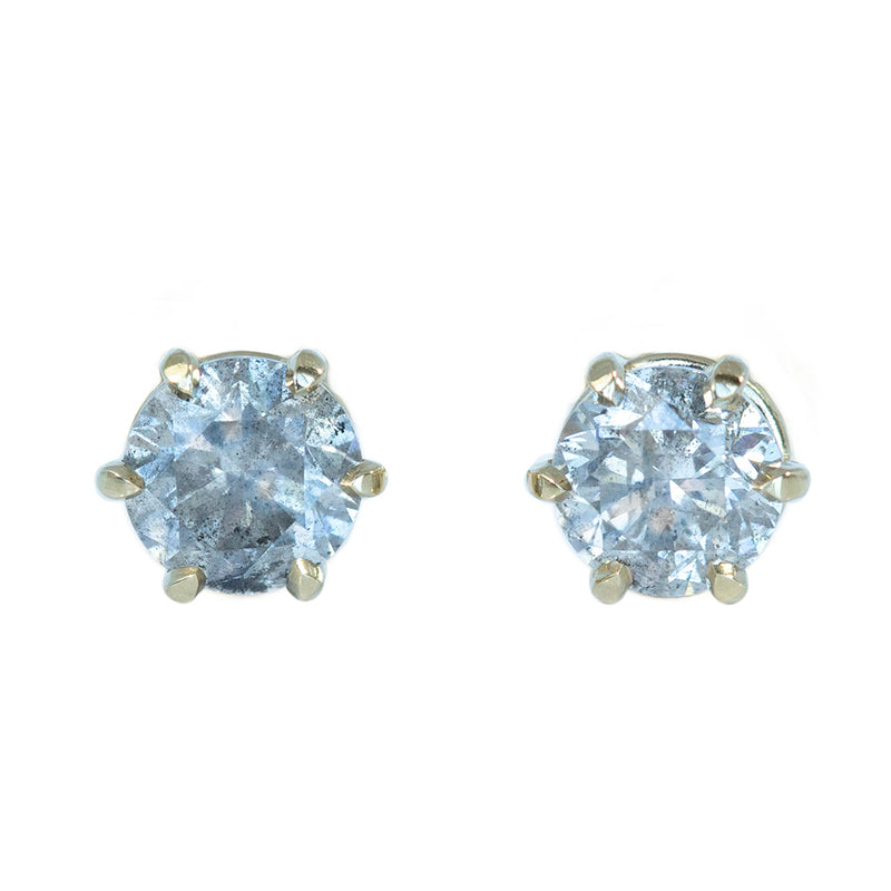 1.40ctw Salt And Pepper Diamond Stud Earrings in 6 Prong Settings In 14K Yellow Gold