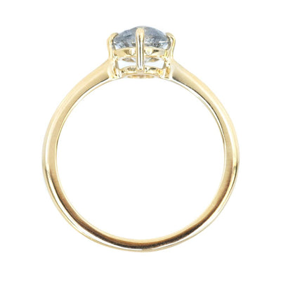 0.90ct Round Salt And Pepper Diamond Ring 4 Prong Compass Set In 14k Yellow Gold