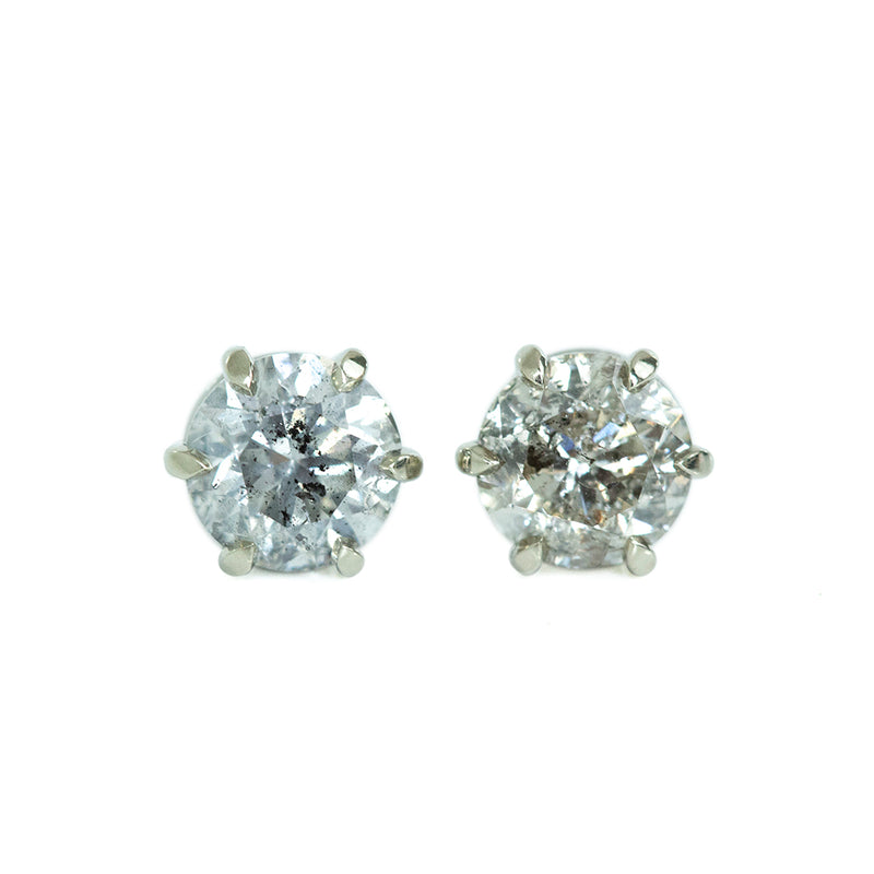 1.40ctw Salt And Pepper Diamond Stud Earrings in 6 Prong Settings In 14k White Gold