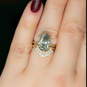 4.28ct Grey Pear Diamond Low Profile Six Prong Split Shank Ring With Contour Diamond Band In 18k Yellow Gold