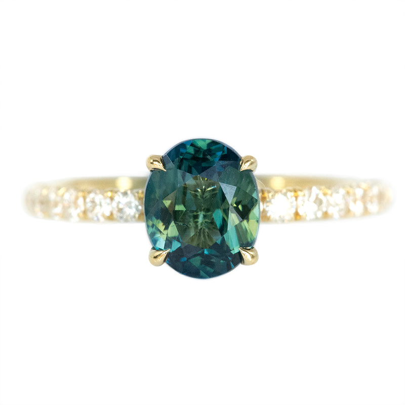1.34ct Green Oval Parti Sapphire Solitaire with French Set Diamonds in Yellow Gold