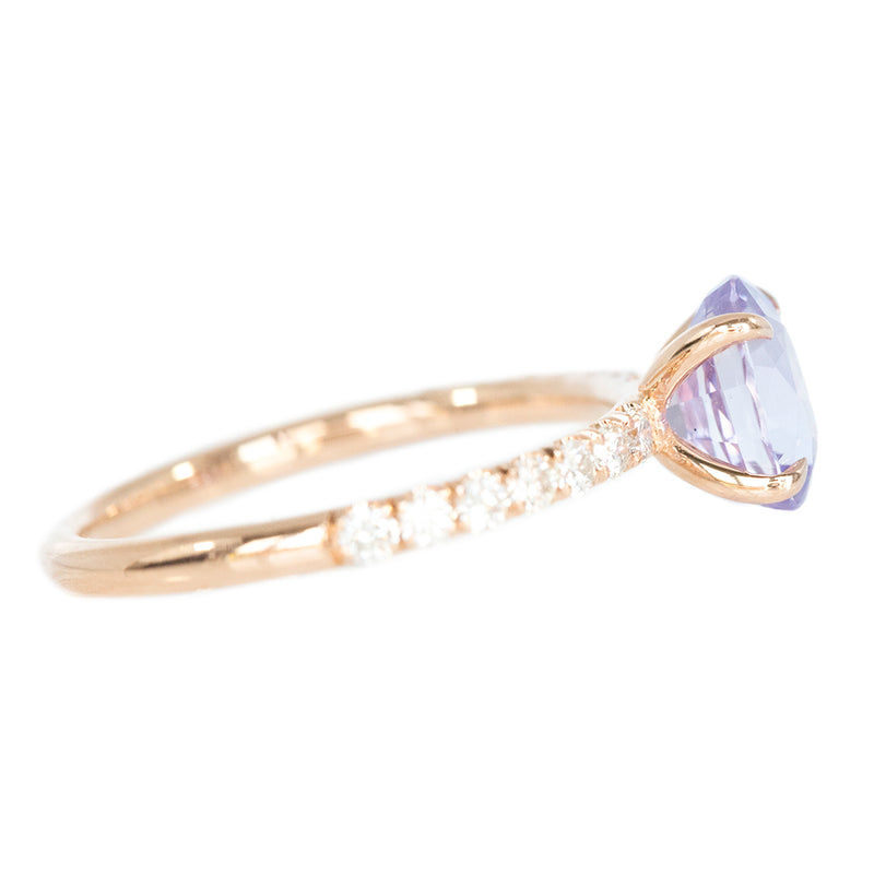 1.76ct Light Purple Oval Sapphire Solitaire with French Set Diamonds In Rose Gold