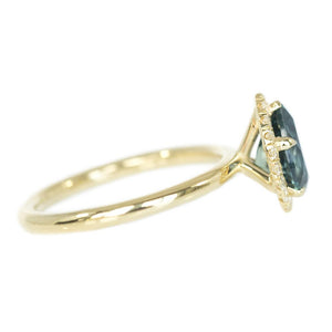 1.54ct Montana Pear Sapphire and Diamond Halo Ring in 14k Yellow Gold