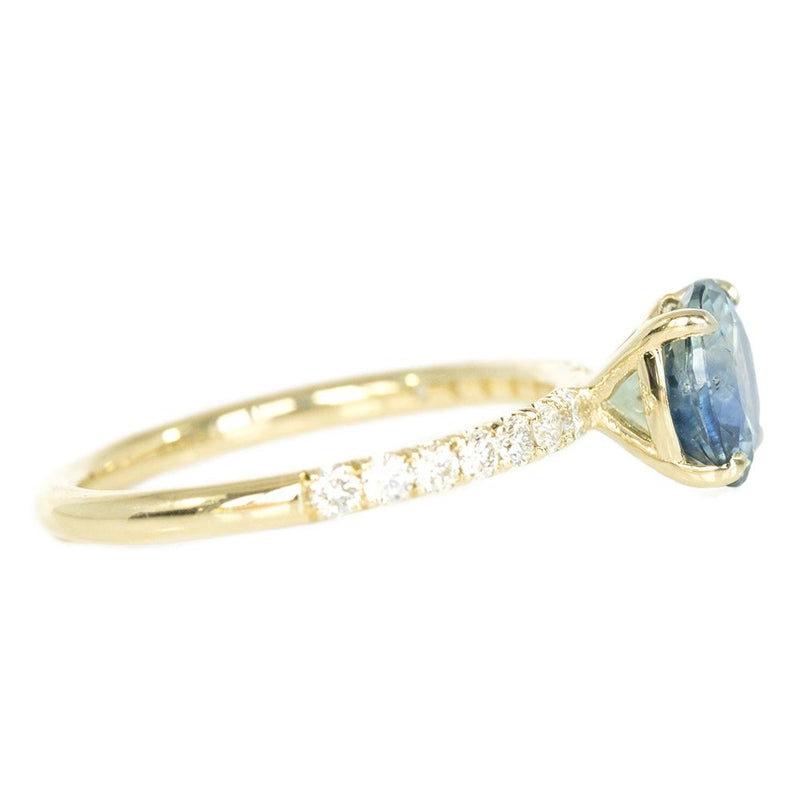 1.78ct Parti Teal Montana Sapphire and Diamond Solitaire in 14k Yellow Gold