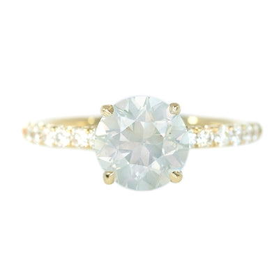 Temporary Hold- 1.80ct Round Opalescent Diamond With French Set Diamonds In 14k Yellow Gold