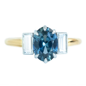 1.96ct Oval Sapphire and Baguette Diamond Three Stone Ring In 18k Yellow And Platinum