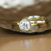 1.47ct Old European Cut Antique Diamond Bezel Set Ring with Organic Alluvial Band In 18k Yellow Gold