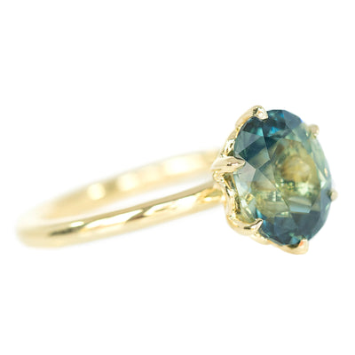 3.09ct Oval Parti Sapphire Lotus Six Prong Solitaire In 14k Yellow Gold