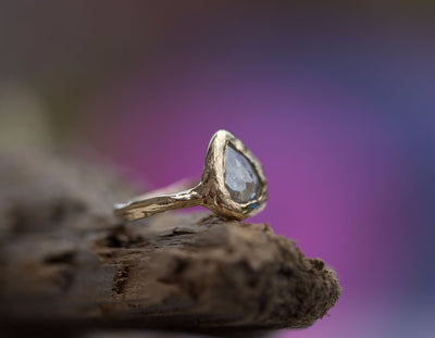 Silver Grey Rosecut Pear Diamond Engagement Ring in Reclaimed Yellow Gold - Unique Earthy Engagement Ring - Hand Carved ring by Anueva