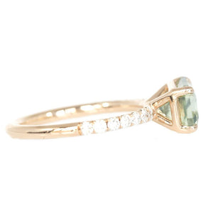 2.83ct Radiant Cut Minty Green East-West Nigerian Sapphire With Diamond Band In 14k Rose Gold