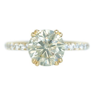 2.15ct Light Green-Grey Diamond Double Prong With French Set Diamonds Band In 14k Yellow Gold