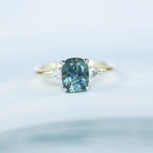 1.77ct Three Stone Cushion Montana Sapphire and Diamond Ring in Two Tone 14k Yellow and White Gold