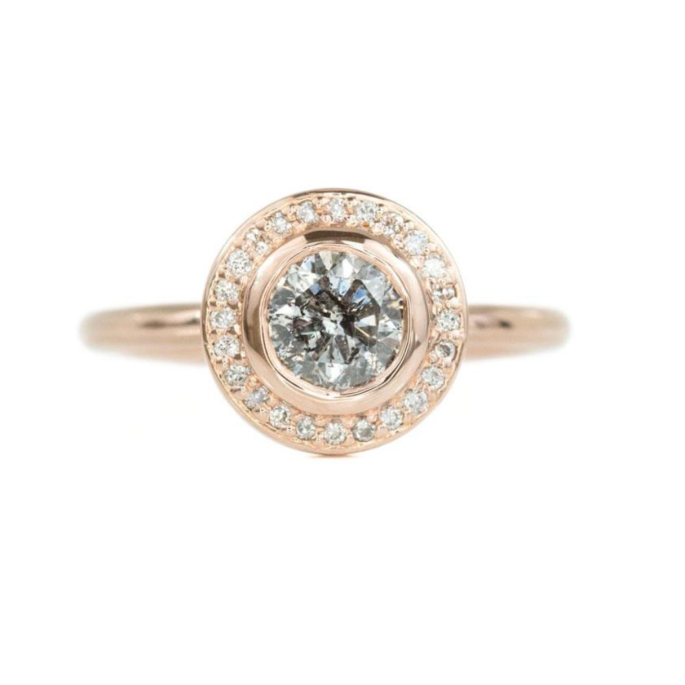 1.08ct Round Salt and Pepper Diamond Rose Gold Bezel Set Halo