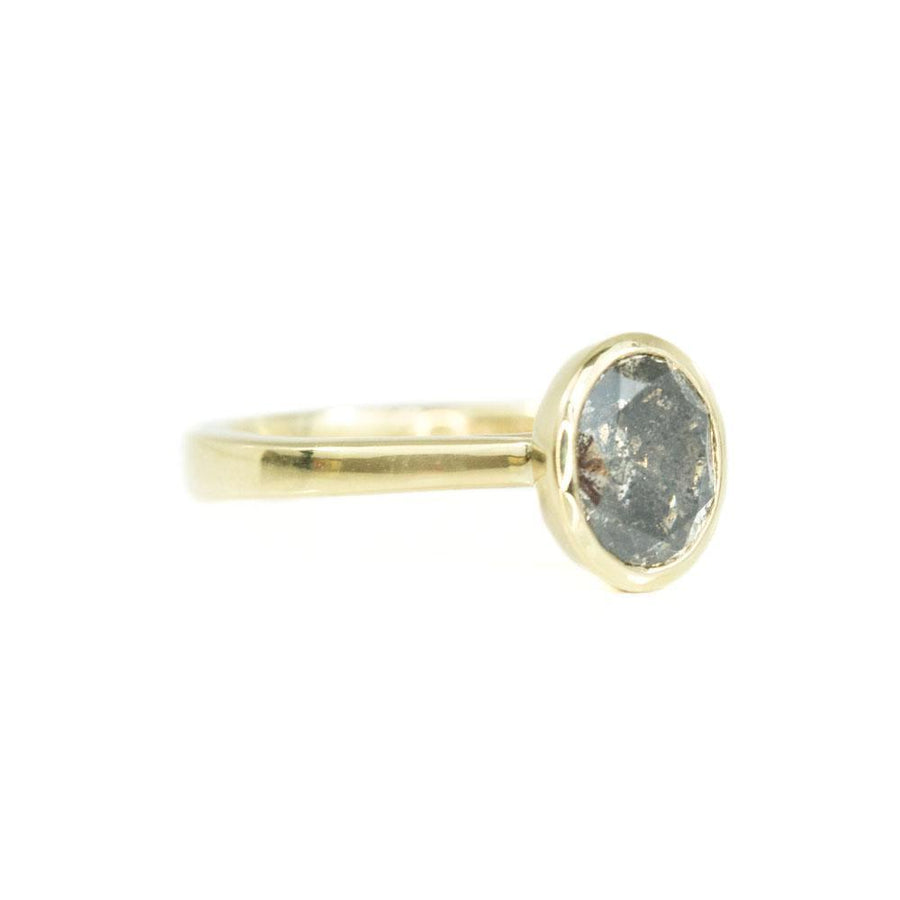 2.21ct Dark Oval Salt and Pepper Diamond Contemporary Bezel Set Ring in Yellow Gold