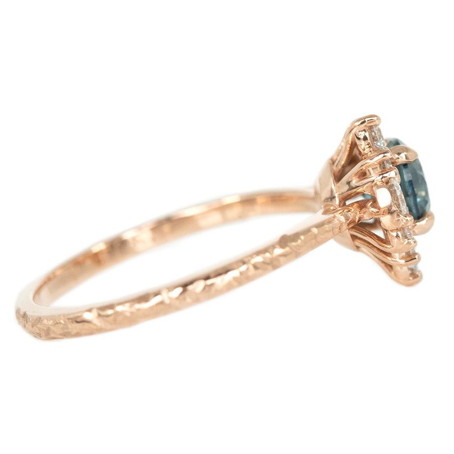 0.87ct Round Nigerian Sapphire Asymmetrical Diamond Cluster Ring In 14k Rose Gold