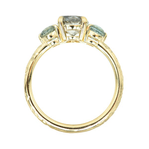 1.07ct Round Salt And Pepper Diamond Three Stone Ring With Montana Sapphire Side Stones In 14k Yellow Gold