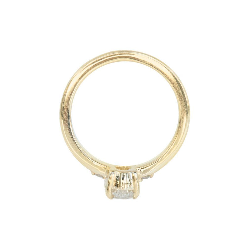 1ct Oval White Diamond dainty three-stone ring in 14k Yellow Gold