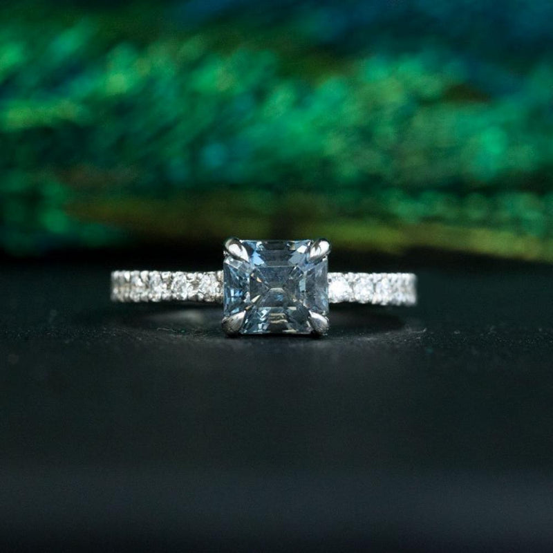 1.52ct Radiant Cut Grey Blue Spinel Ring with French Set Diamond Band in 14k White Gold