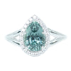 2.54ct Pear Montana Sapphire And Diamond Halo Split Shank Low Profile Ring In Platinum
