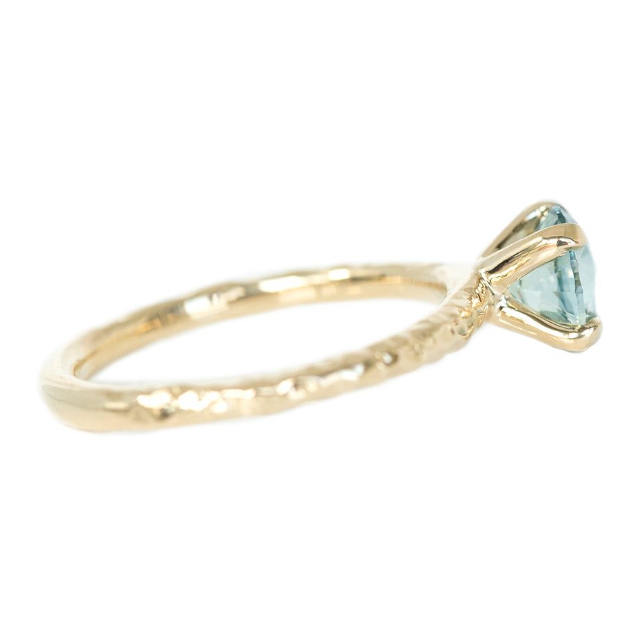 1.19ct Montana Sapphire Evergreen Solitaire in 14k Yellow Gold