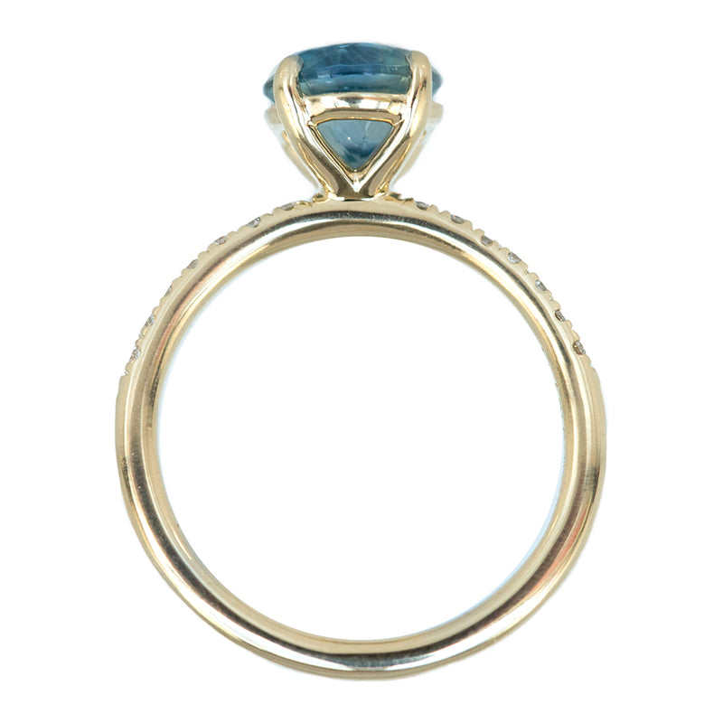 2.02ct Blue Montana Sapphire Solitaire with French Set Diamonds in 14k Yellow Gold
