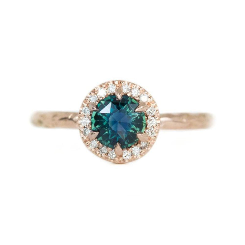 1.0ct Round Double Rosecut Australian Sapphire in Evergreen Rose Gold Low Profile Diamond Halo Ring by Anueva Jewelry