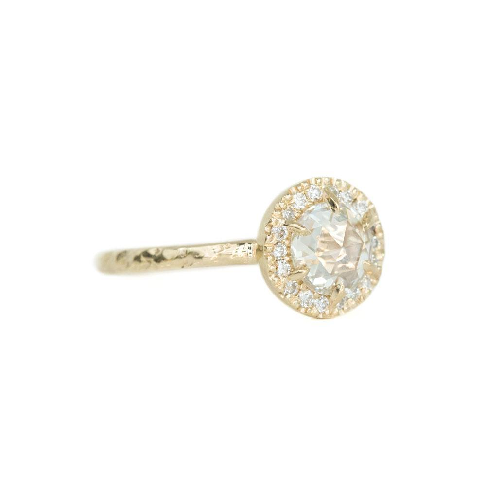 0.59ct White Rosecut diamond in 14k Yellow Gold Low Profile 6 Prong Halo Evergreen Setting