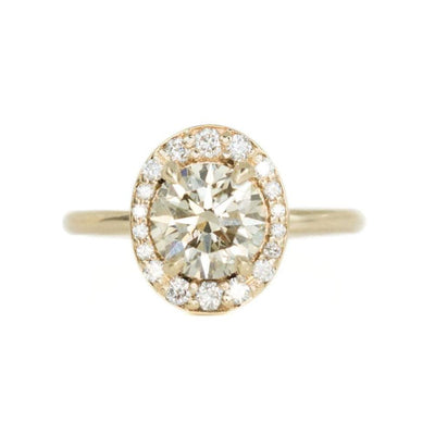 1.58ct Round Champagne Diamond in Oval-esque tapered Diamond Halo, 14k Yellow Gold
