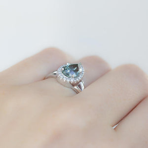 2.45ct Pear Montana Sapphire And Diamond Halo Split Shank Low Profile Ring In Platinum