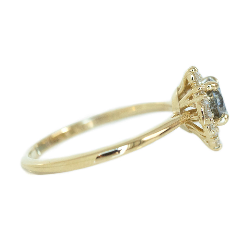 0.65ct Round Salt And Pepper Diamond Asymmetrical Cluster Ring In 14k Yellow Gold