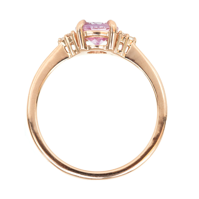 1.02ct Pink Sapphire and Diamond Cluster Ring in 14k Rose Gold