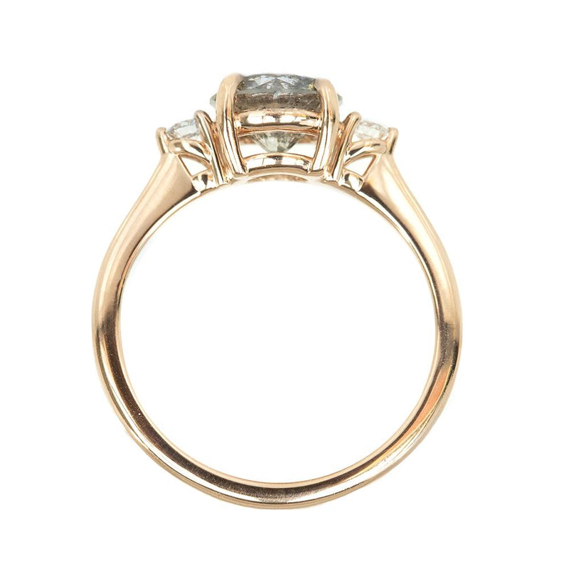 1.56ct Round Salt And Pepper Diamond Three Stone Ring In 14k Rose Gold