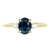 1.57ct Blue Oval Sapphire and Diamond Three Stone Ring in 14k Yellow Gold