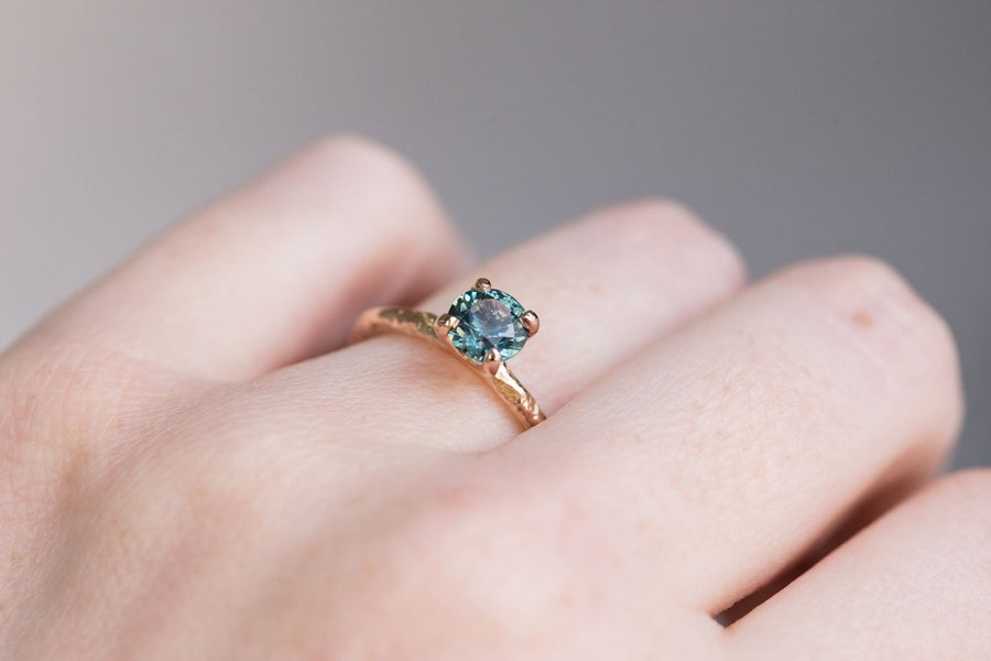 0.91 Vivid Teal Blue Montana Sapphire Solitaire Ring - Organic Carved 18k Rose Gold 4 Prong
