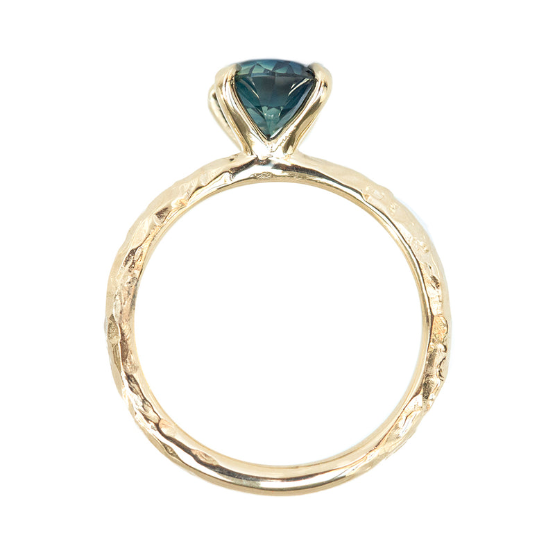 1.68ct Oval Blue Sapphire Evergreen Solitaire Ring In 14k Yellow Gold