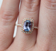 SALE Purple and Blue Tanzanite Diamond Halo Rose Gold Engagement Ring - Tanzanite Engagement Ring  - Mystique Fine Bridal by Anueva