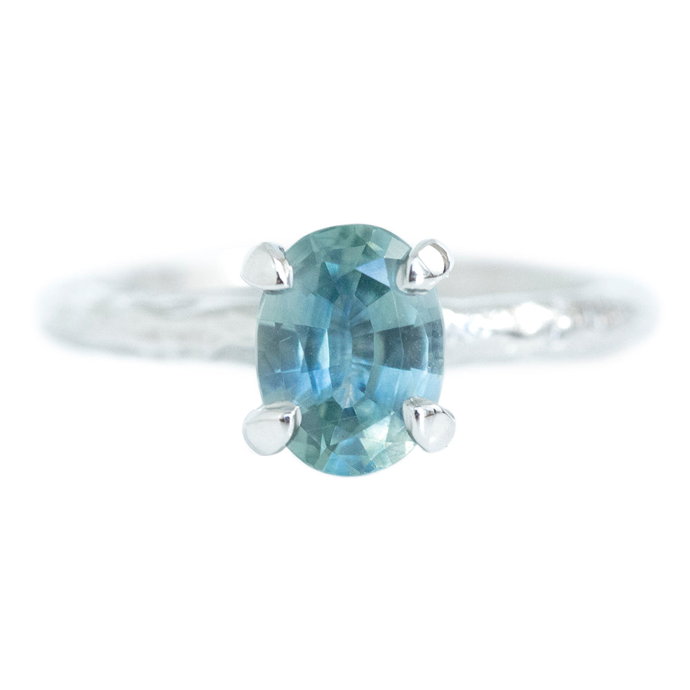 1.39ct Oval Sky Blue Montana Sapphire Evergreen Solitaire In Platinum