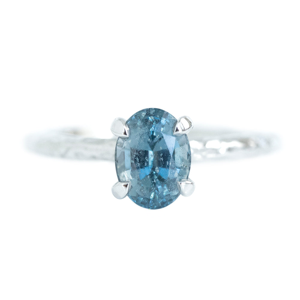 1.47ct Blue Oval Montana Sapphire Evergreen Solitaire In 14k White Gold