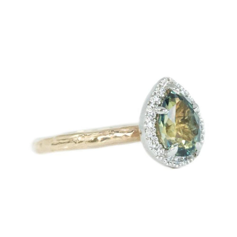1.31ct Parti Pear Green Sapphire in Two-Tone Yellow and White Evergreen Prong Set Halo Ring