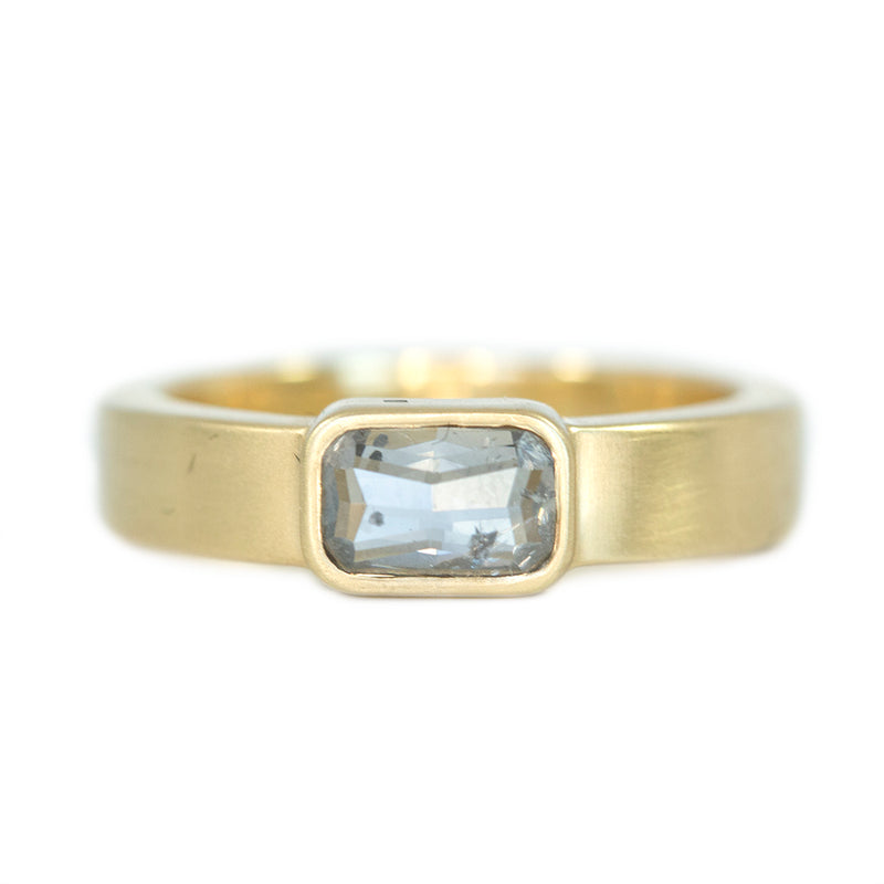 0.68ct Grey Rosecut Diamond In Bezel Set Wide Band In Satin Finished 14k Yellow Gold
