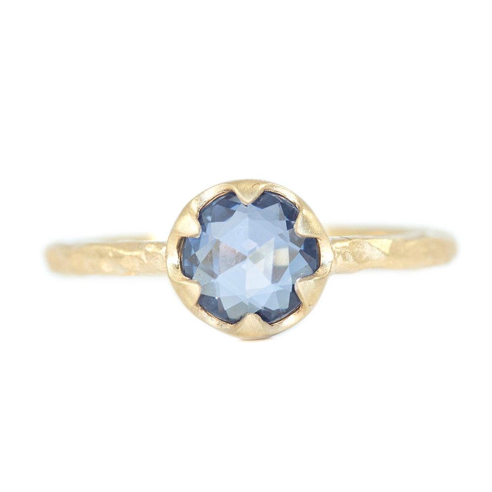 1.02ct Rosecut Sapphire Low Profile Six Prong Evergeen Solitare in Satin Yellow Gold