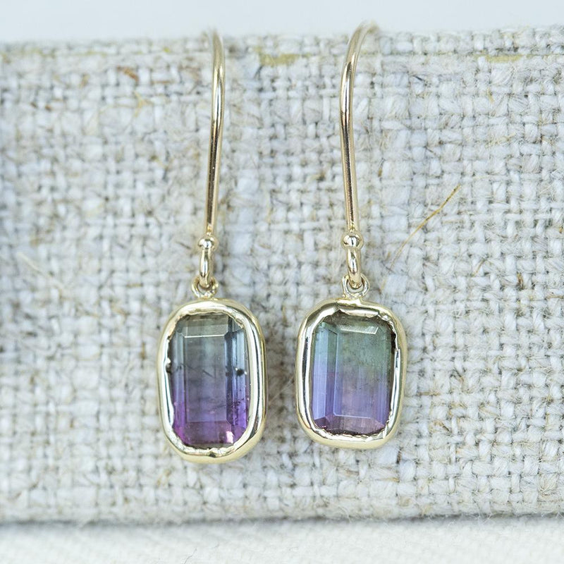 Bezel Set Bi Color Watermelon Tourmaline Dangle Earrings