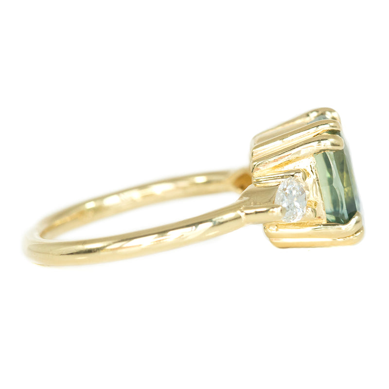 4.44ct Cushion Sapphire And Pear Diamond Side Ring In 14k Yellow Gold